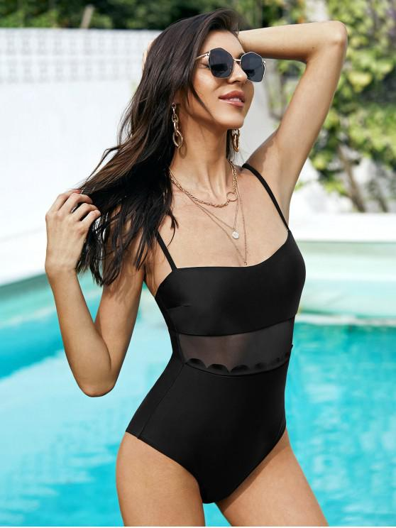 unique ZAFUL Scalloped Mesh Panel High Cut One-piece Swimsuit - BLACK L