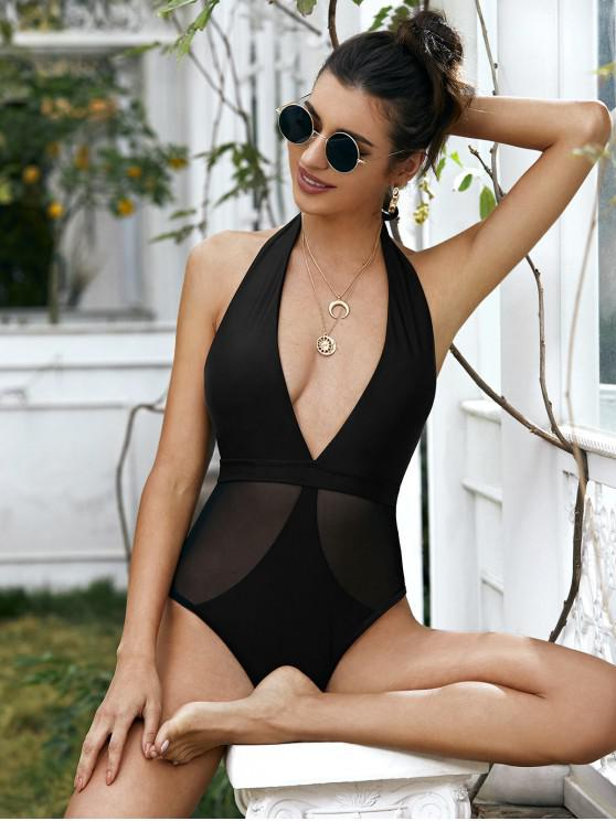 hot ZAFUL Mesh Panel Halter One-piece Swimsuit - BLACK L