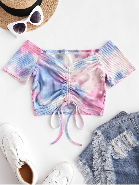 trendy ZAFUL Tie Dye Cinched Ribbed Crop Tee - MULTI-A S