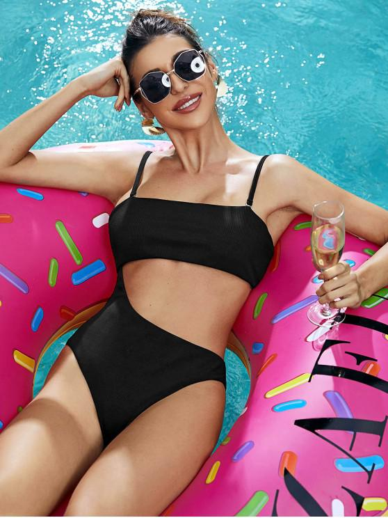 latest ZAFUL Ribbed Cutout High Cut One-piece Swimsuit - BLACK S
