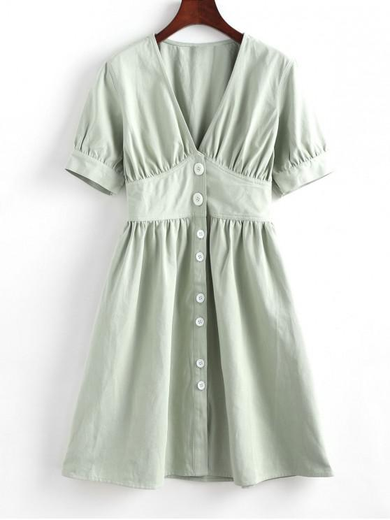 sale Button Up Ruched Mini Dress - LIGHT GREEN L