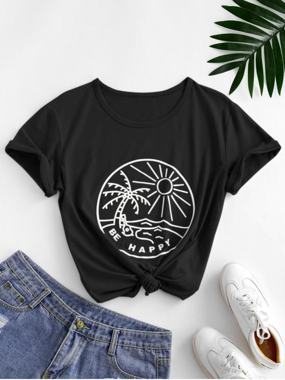 hot Funny Coconut Tree and Sun Graphic Cotton Tee - BLACK M