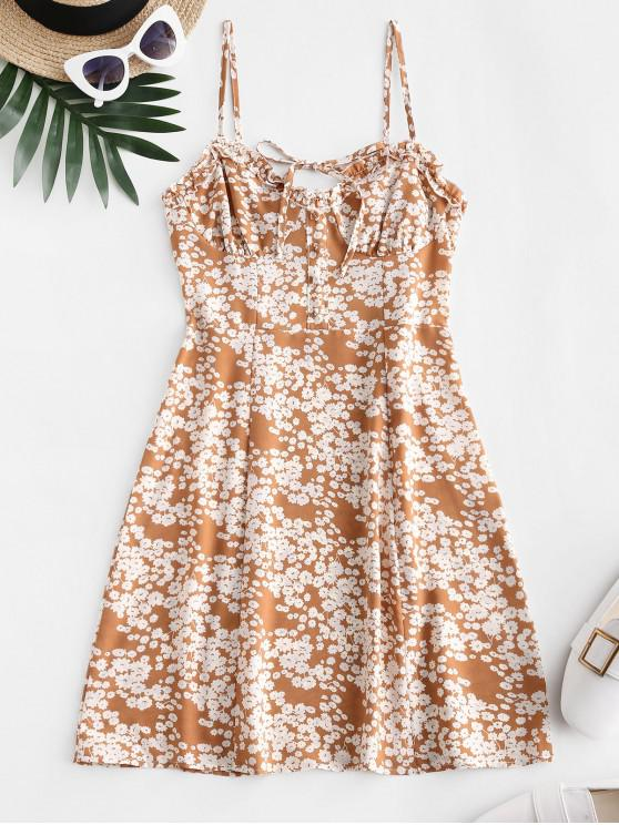 chic Tie Collar Smocked Back Ditsy Floral Cami Dress - MULTI-A L