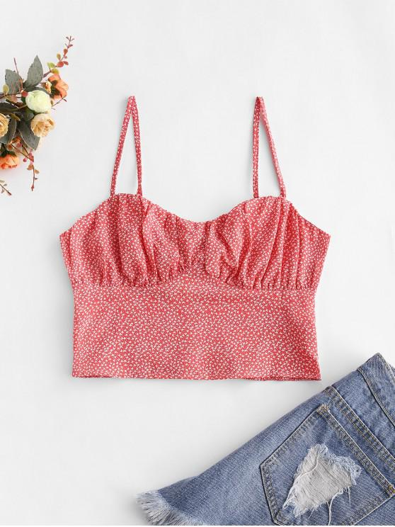 trendy Smocked Back Bustier Ditsy Floral Cami Top - RED M