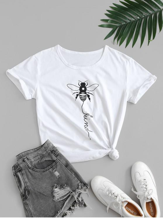 women Basic Insect Graphic Tee - WHITE XL