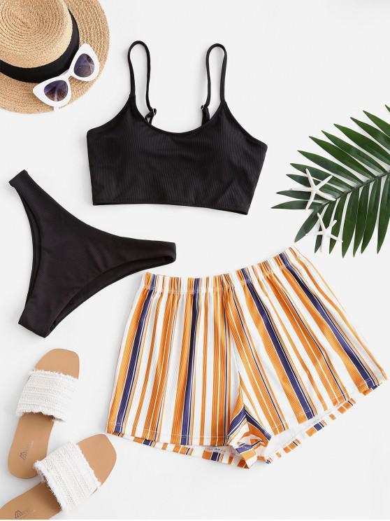 best ZAFUL Striped Ribbed Three Piece Bikini Swimsuit - BLACK L