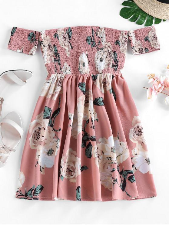 new ZAFUL Off Shoulder Flower Smocked Dress - PINK ROSE M