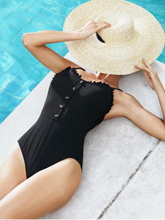 ZAFUL Frilled Button Ribbed One-piece Swimsuit - أسود S
