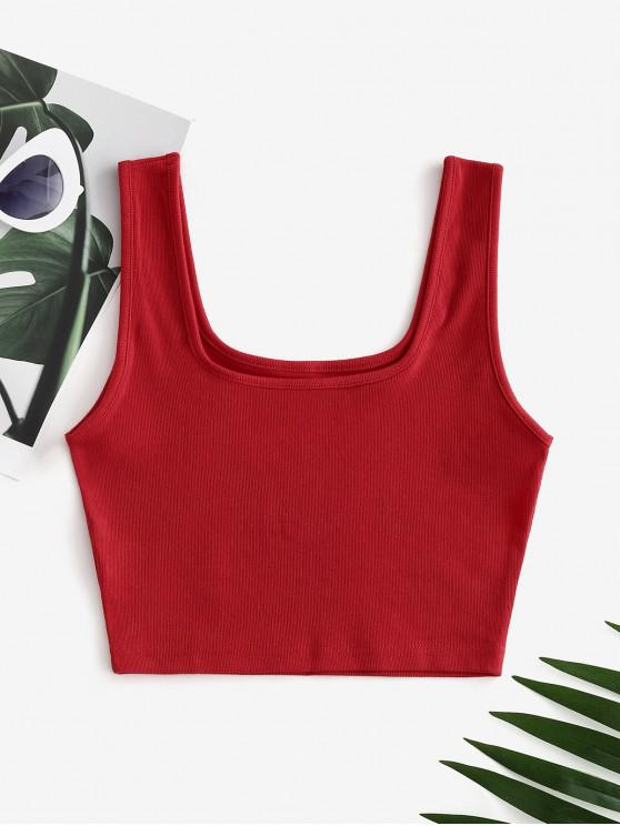 affordable Plain Ribbed Cropped Tank Top - RED L