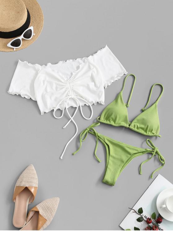 ZAFUL Ribbed Tie Lettuce Three Piece Bikini Swimwear - اخضر فاتح M