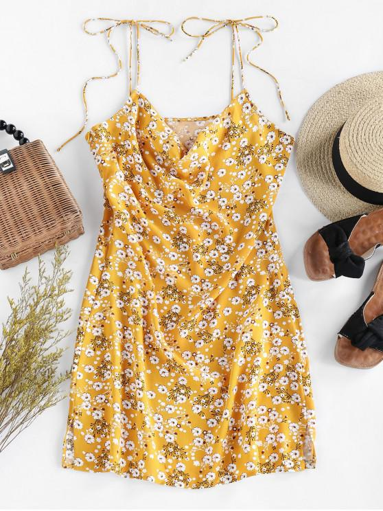 shops ZAFUL Ditsy Floral Tie Draped Cami Dress - GOLDENROD XL