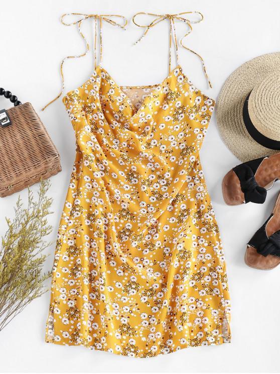 new ZAFUL Ditsy Floral Tie Draped Cami Dress - GOLDENROD M