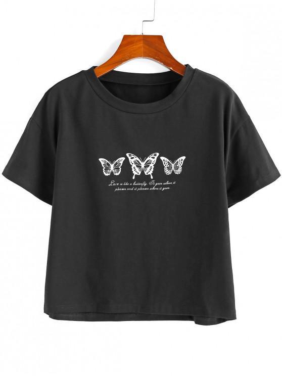 ZAFUL Slogan Butterfly Print picătură umăr T-shirt - Negru L