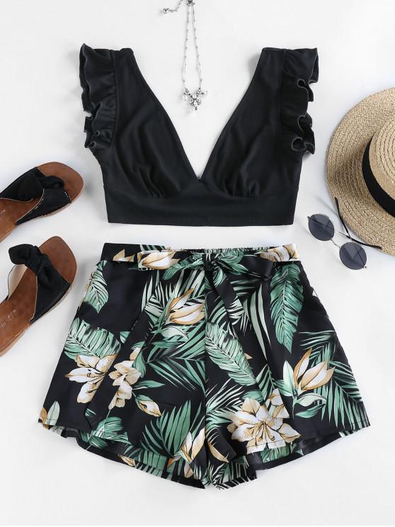 latest ZAFUL Flower Leaf Ruffle Plunging Bowknot Shorts Set - BLACK M