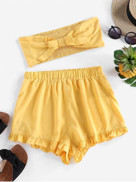 outfit ZAFUL Bowknot Ruffled Smocked Bandeau Two Piece Set - RUBBER DUCKY YELLOW XL