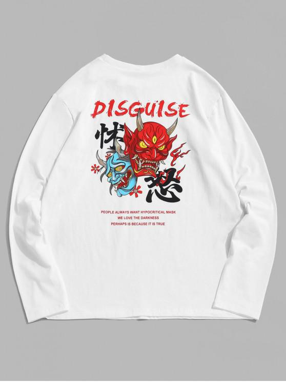 unique ZAFUL Graphic Letter Print Full Sleeves T-shirt - WHITE 2XL
