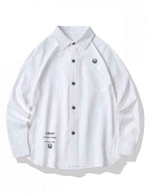 Graphic Print Button Up Pocket Shirt - أبيض XL