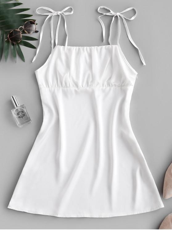 women Silky Ruched Front Tie Shoulder Mini Dress - WHITE M