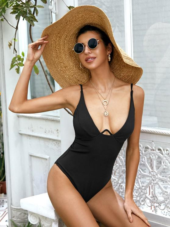women's ZAFUL Underwire Ribbed High Cut Knot Swimsuit - BLACK M