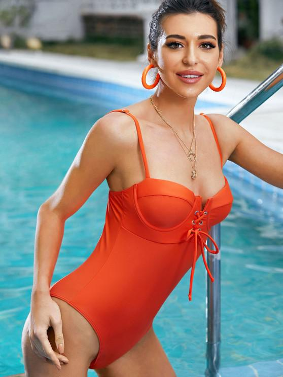 fancy ZAFUL Underwire Lace Up High Cut Grommet Swimsuit - ORANGE S