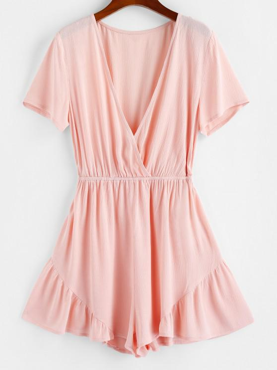 ladies ZAFUL Ruffle Plunging Wide Leg Romper - LIGHT PINK S