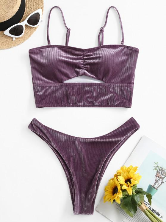 women ZAFUL Velvet Ribbed High Cut Tankini Swimwear - VIOLA PURPLE S