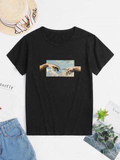 T-shirt En Coton à Motif Main à Manches Courtes - Noir S
