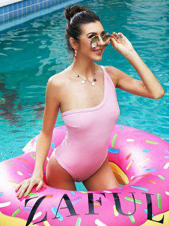 ZAFUL Ribbed One Shoulder High Cut Swimsuit - Pink Rose M