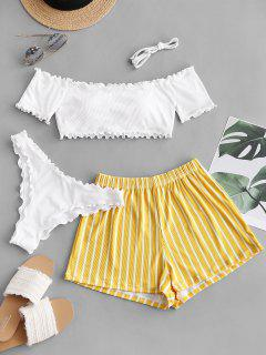 ZAFUL Lettuce-trim Off Shoulder Ribbed Three Piece Bikini Swimsuit - White L
