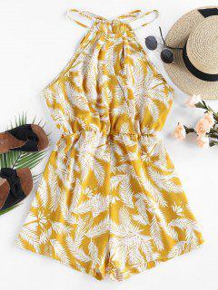 ZAFUL Leaf Print Cutaway Wide Leg Romper - Yellow S