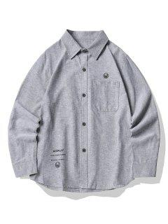 Graphic Print Button Up Pocket Shirt - Light Gray M