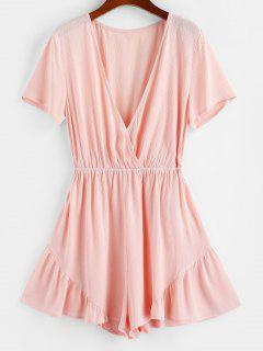 ZAFUL Ruffle Plunging Wide Leg Romper - Light Pink S