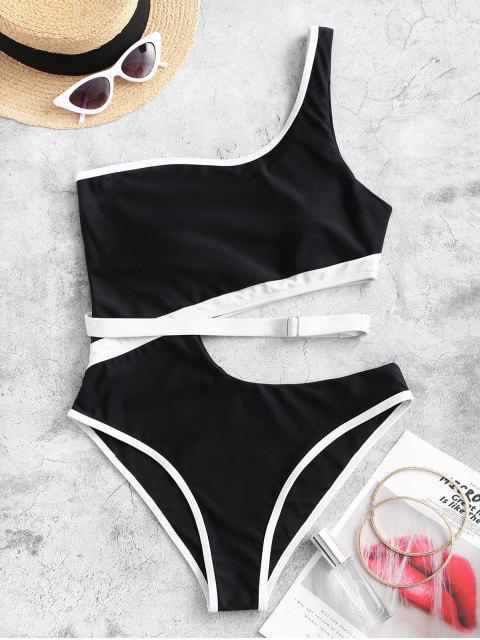 ZAFUL對比色滾邊摳圖單肩連體泳衣 - 黑色 XL Mobile