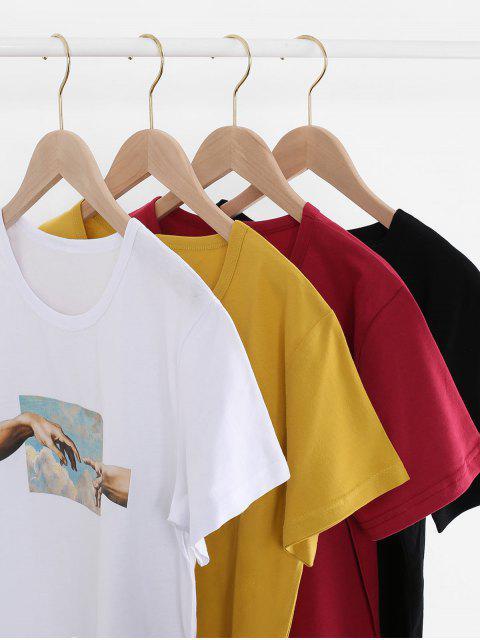 T-shirt en Coton à Motif Main à Manches Courtes - Noir 2XL Mobile