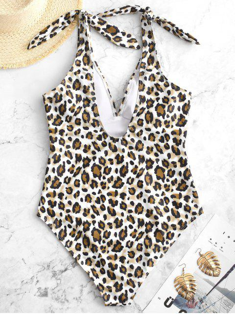 outfits ZAFUL Knot Leopard One-piece Swimsuit - BROWN BEAR XL Mobile
