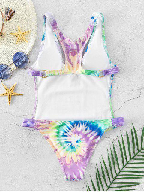 fashion ZAFUL Spiral Tie Dye Print Racerback O-ring Swimsuit - MULTI-A S Mobile