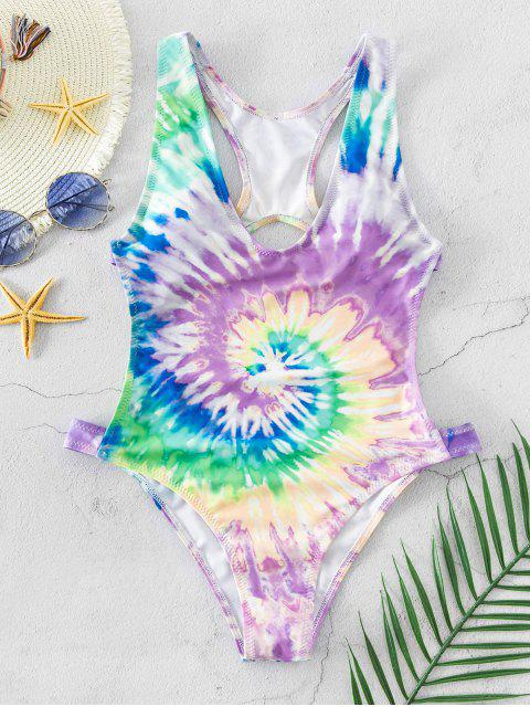 chic ZAFUL Spiral Tie Dye Print Racerback O-ring Swimsuit - MULTI-A M Mobile