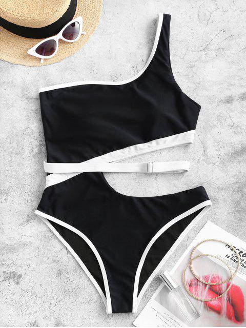 fashion ZAFUL Contrast Piping Cutout One Shoulder One-piece Swimsuit - BLACK L Mobile