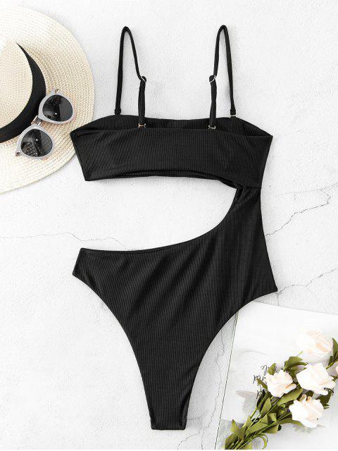 fashion ZAFUL Ribbed Cutout High Cut One-piece Swimsuit - BLACK L Mobile