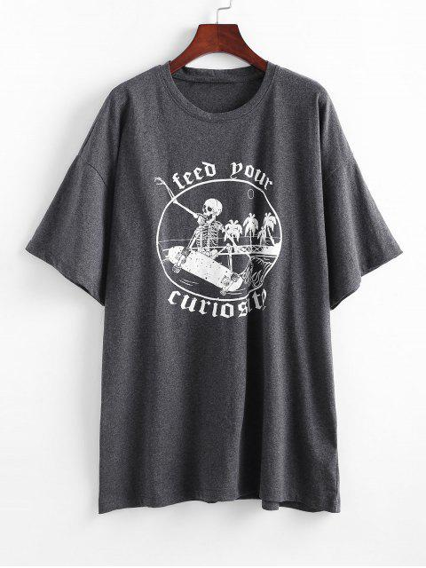 T-shirtde BaseGraphique Crâne Halloween - Gris Taille Unique Mobile
