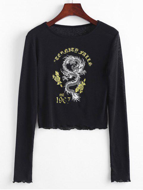 T-shirt Graphique Dragon et Oriental à Ourlet en Laitue - Noir L Mobile