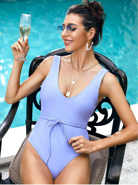 online ZAFUL Waist Drawstring One-piece Swimsuit - SEA BLUE S Mobile