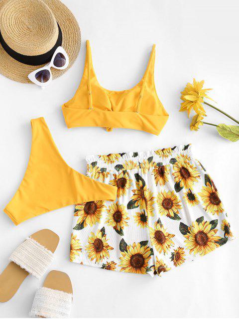 hot ZAFUL Ribbed Knot Sunflower Three Piece Bikini Swimsuit - MUSTARD M Mobile