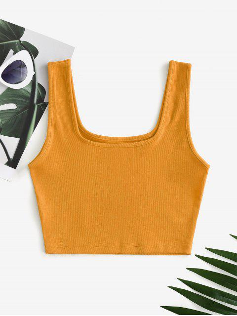 Regata Lisa Barriga de Fora Rugosa com Decote Trançado - Amarelo S Mobile