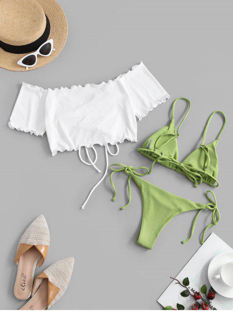 ZAFUL Maillot de Bain Bikini Côtelé à Ourlet en Laitue Trois Pièces - Vert clair L Mobile