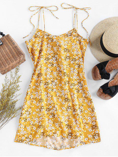 new ZAFUL Ditsy Floral Tie Draped Cami Dress - GOLDENROD M Mobile