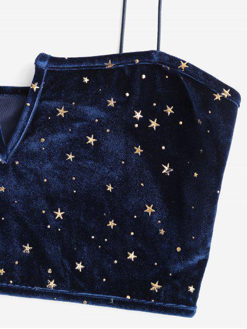 ZAFUL Cami Top de Veludo Cotelê Entalhado Top - Azul M Mobile