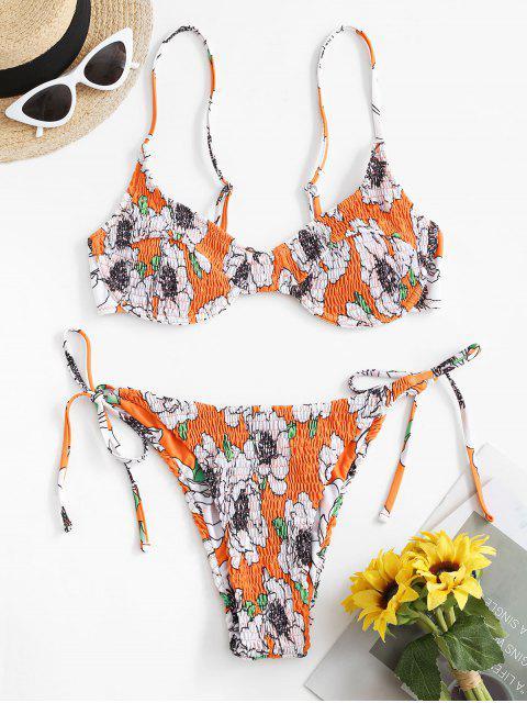 ZAFUL Blumen Kittel Bügel Bikini Badebekleidung - Orange L Mobile