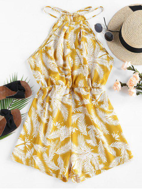 online ZAFUL Leaf Print Cutaway Wide Leg Romper - YELLOW M Mobile