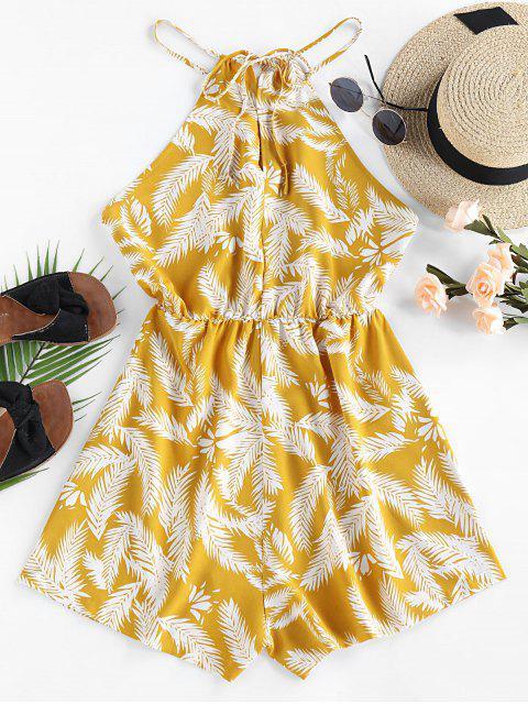 outfits ZAFUL Leaf Print Cutaway Wide Leg Romper - YELLOW L Mobile
